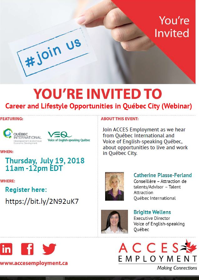 Career and Lifestyle Opportunities in Québec City (Webinar)